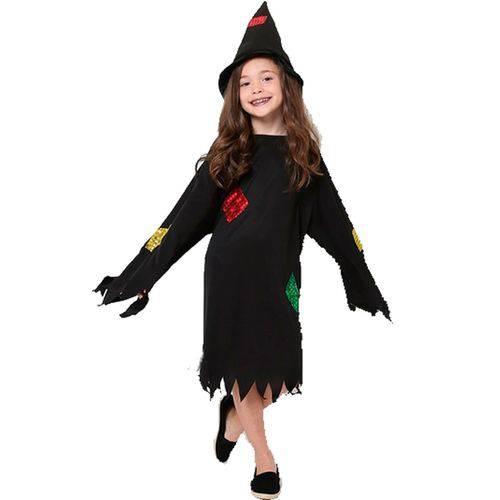 Fantasia de Bruxa Feiticeira Lovely com Chapéu Halloween Infantil