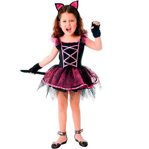 Fantasia de Bruxa Gatinha Halloween Infantil