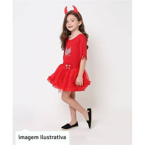 Fantasia de Diabinha Vermelha com Chifre Halloween Infantil