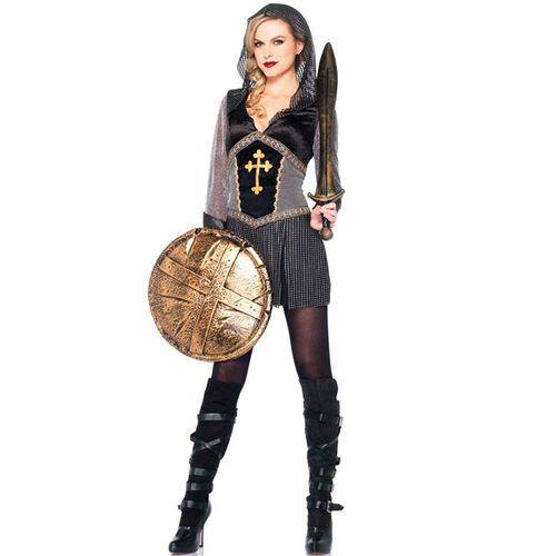 Fantasia de Guerreira Medieval Joana Darc Adulta Feminina - P 38 - 40