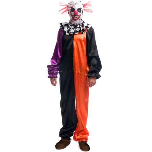 Fantasia de Halloween Adulto Arlequim Palhaço Assassino com Máscara