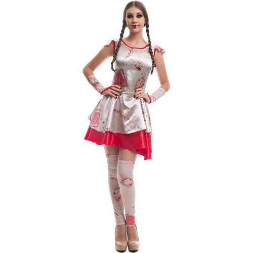 Fantasia de Halloween Feminina Adulta Boneca do Mal Assustadora