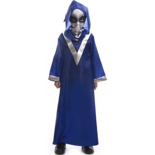 Fantasia de Halloween Infantil Et Alienígena Extra Terrestre Azul com Gorro