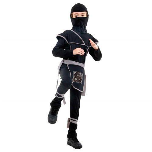 Fantasia de Ninja Samurai Preto com Gorro Infantil Luxo