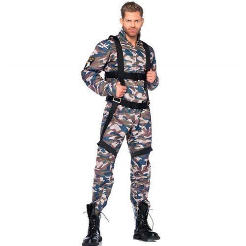 Fantasia de Pára-quedista Militar Adulto Masculino com Arnês