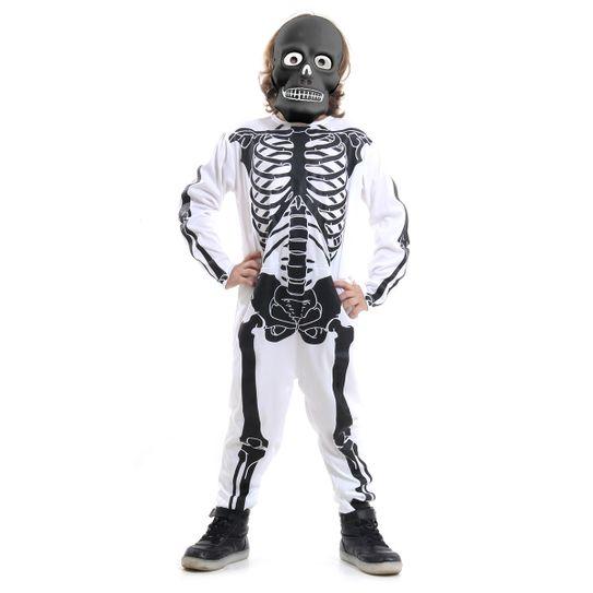 Fantasia Esqueleto Branco com Preto Infantil - Halloween M