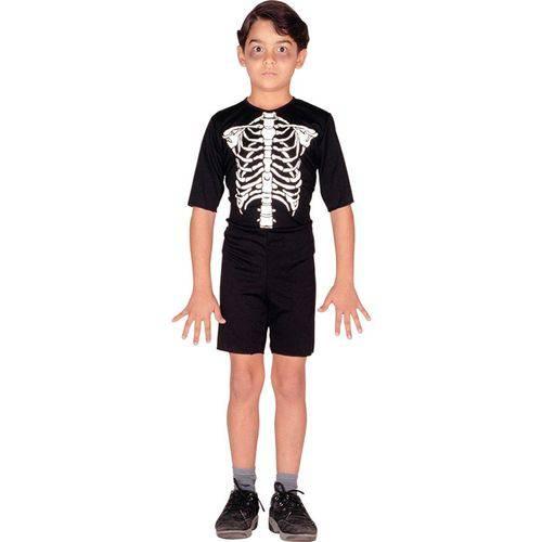 Fantasia Esqueleto Infantil Curto Halloween