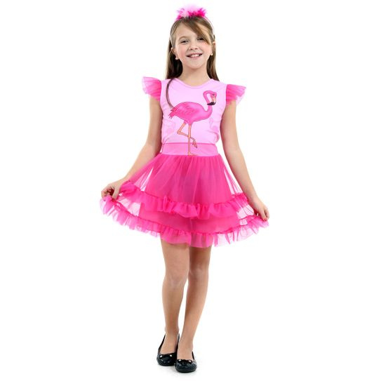Fantasia Flamingo Infantil Faces Luxo P