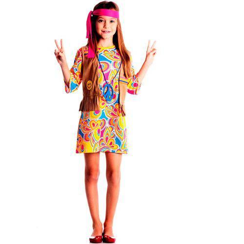 Fantasia Hippie Feminina Infantil com Colete e Colar - M 5 - 8