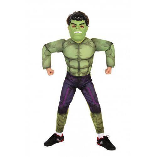 Fantasia Infantil Hulk Vingadores da Marvel com Máscara - Hulk
