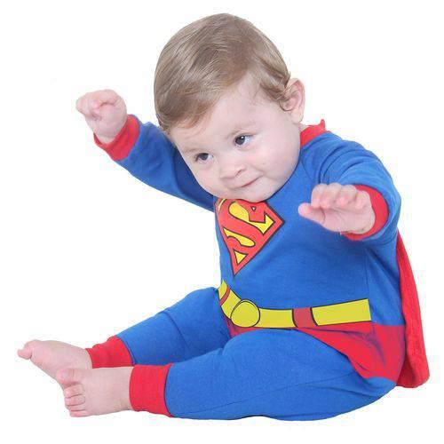 Fantasia Infantil Macacão Super-Homem Bebê - Super-Homem