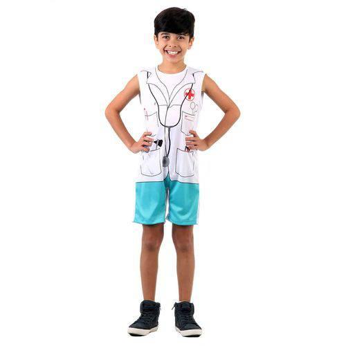 Fantasia Infantil Sulamericana Pop Médico G Azul e Branca