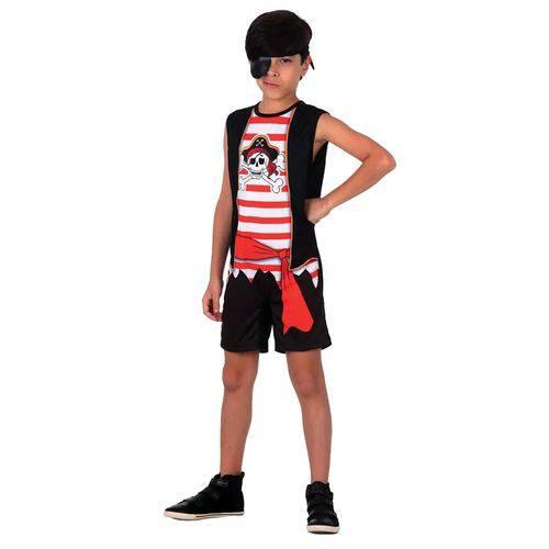 Fantasia Infantil Sulamericana Pop Pirata M Preta e Vermelha