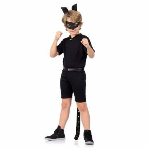 Fantasia Infantil Tam M 6 a 8 Anos - Miraculous - Cat Noir Pop - Sulamericana