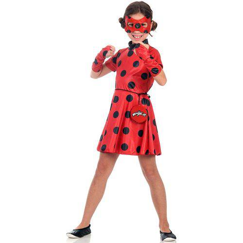 Fantasia Ladybug Vestido Infantil Original Miraculous com Pochete