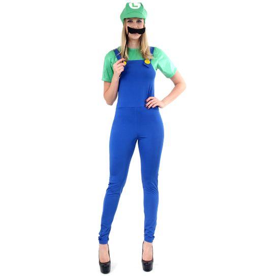 Fantasia Luigi Feminino Adulto - Super Mario PP