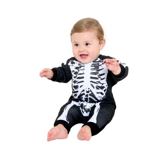 Fantasia Macacão Bebê Esqueleto P