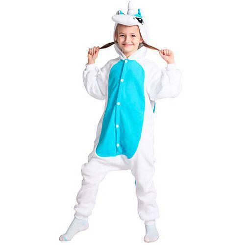 Fantasia Macacão de Unicórnio Kigurumi Infantil Branco e Azul com Capuz