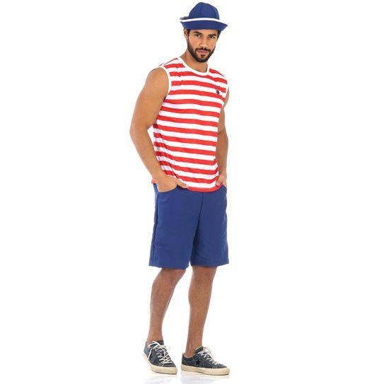 Fantasia Marinheiro Regata Verão Adulto P