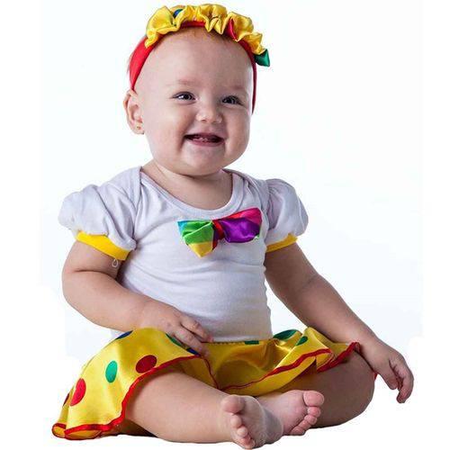 Fantasia Palhacinha Bebê com Faixa 3 a 18 Meses - M 3 - 6 Meses
