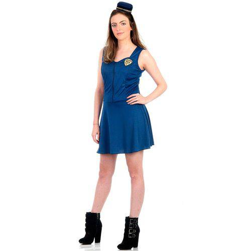 Fantasia Policial Feminino Adulto Azul Heat Girls Luxo