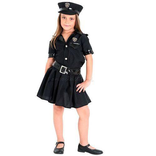 Fantasia Policial Infantil Feminino Completa com Quepe Sulamericana