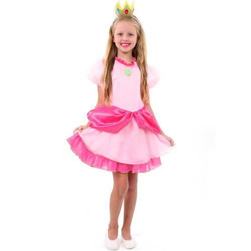 Fantasia Princesa Peach Infantil Luxo Super Mário Brós