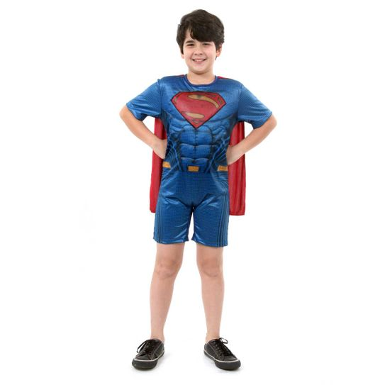Fantasia Super Homem Infantil Curto com Musculatura - Liga da Justiça P