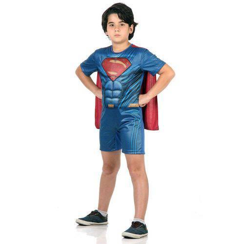 Fantasia Super Homem Infantil Curto com Musculatura - Liga da Justiça