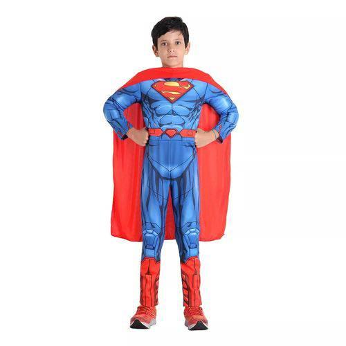 Fantasia Super Homem Infantil Longa com Músculos Original Dc Comics Sulamericana 22552