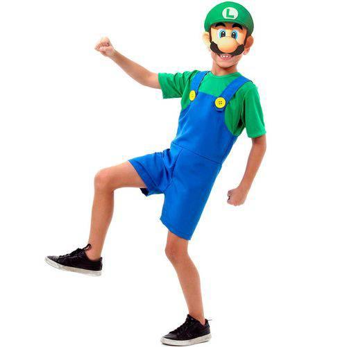 Fantasia Super Mário Brós Luigi Verão Infantil