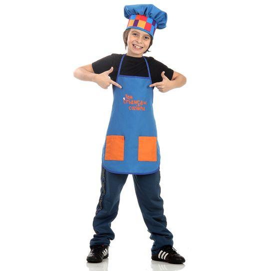 Fantasia Têm Criança na Cozinha Infantil - Avental Azul