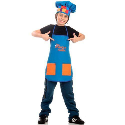Fantasia Tem Criança na Cozinha Infantil Avental Azul