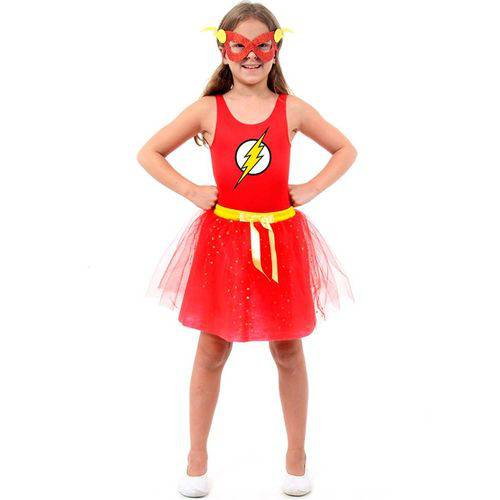 Fantasia The Flash Feminino Infantil com Máscara DC Heroínas