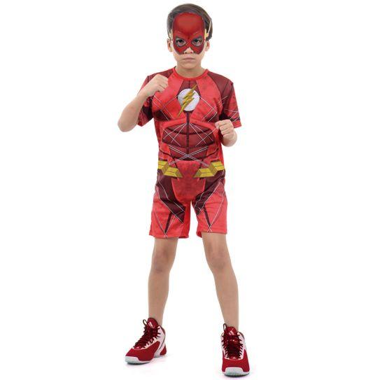 Fantasia The Flash Infantil Curto com Musculatura - Liga da Justiça P