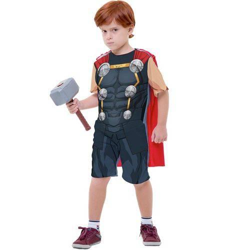 Fantasia Thor Infantil Curta com Martelo os Vingadores Marvel