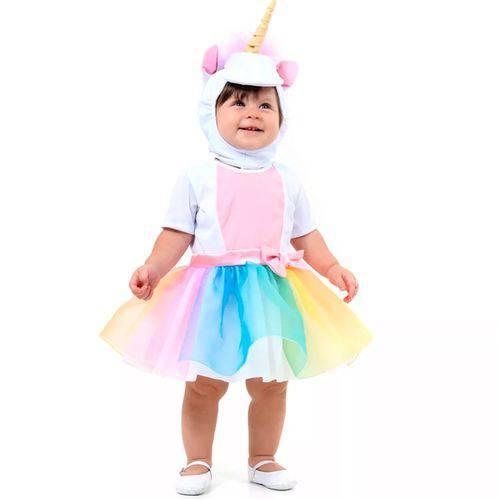 Fantasia Unicórnio Bebê Vestido e Gorro com Chifre 1 Ano - P - 1
