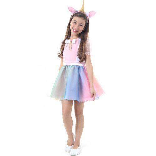 Fantasia Vestido de Unicórnio Infantil Feminino Tiara com Orelha e Chifre