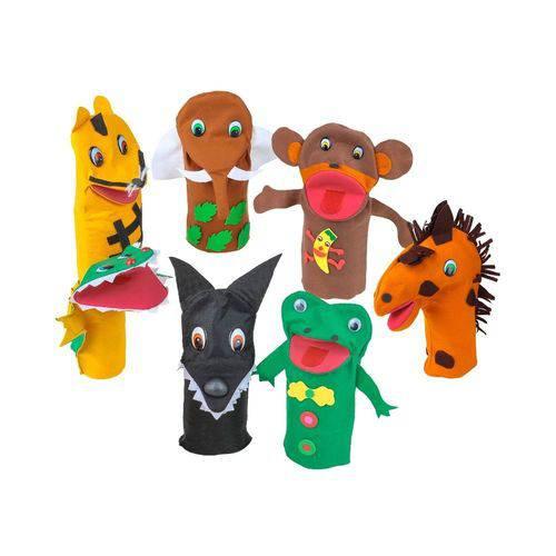 Fantoches Animais Selvagens Feltro 7 Personagens