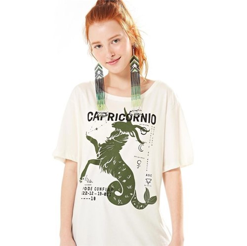 Farm | T-Shirt Silk Capricórnio - Off White - M