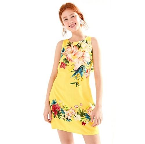 Farm | Vestido Curto Floralia - Amarelo Pinoli - P