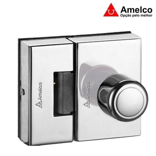 Fechadura Elétrica Cromada para Portas de Vidro 2 Folhas com Maçaneta Bola FV32ICR - Amelco