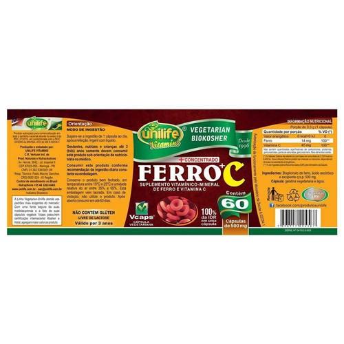 Ferro e Vitamina C 60 Capsulas