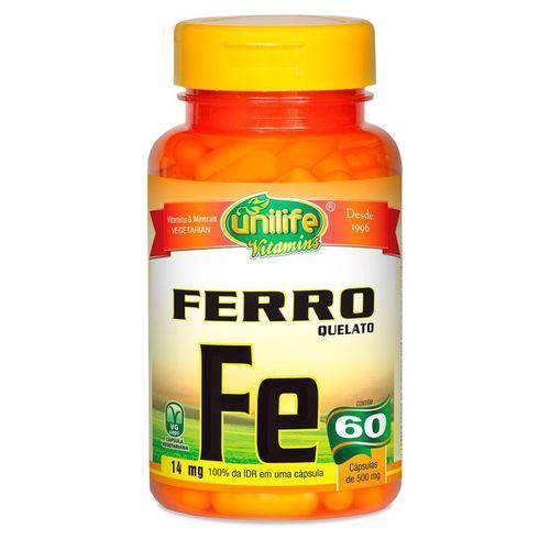 Ferro Quelato 60 Cápsulas (500mg) - Unilife