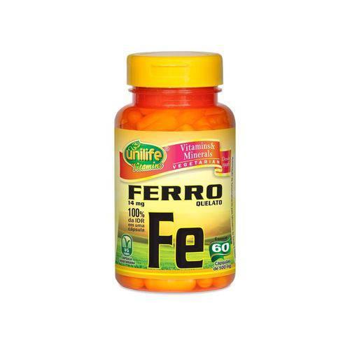 Ferro Quelato FE 14mg 60 Cápsulas Unilife