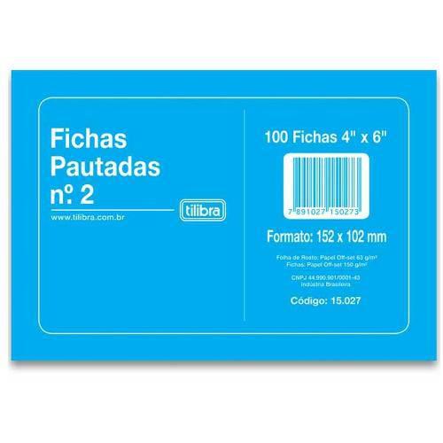 Ficha Pautada Nº2 4X6 100 Folhas Tilibra