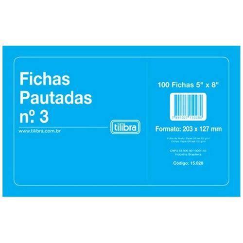"Ficha Pautada Tilibra N3 5x8"" 203x127mm com 100 Fls. 150282 01660"