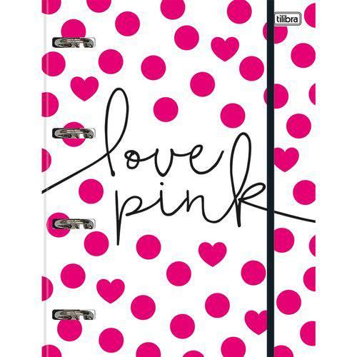 Fichário Argolado C/ Elástico Love Pink 80 Folhas - Tilibra
