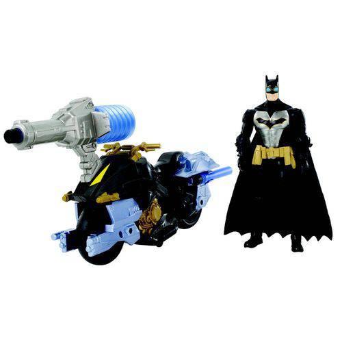 Figura Articulada 15 Cm e Veículo - Dc Comics - Batman e Batmoto com Lançador - Mattel