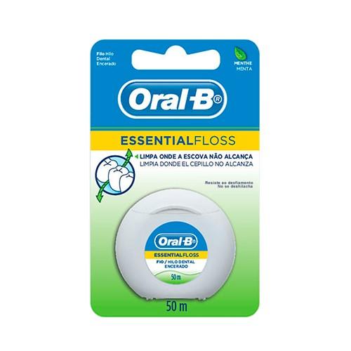 Fio Dental Oral B Essential Floss Encerado Sabor Menta com 50m